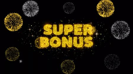 pricetag : Super Bonus Text Reveal on Glitter Golden Particles Firework. Sale, Discount Price, Off Deals, Offer promotion offer percent discount ads 4K Loop Animation. Stock Footage