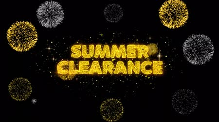 クリアランス : Summer Clearance Text Reveal on Glitter Golden Particles Firework. Sale, Discount Price, Off Deals, Offer promotion offer percent discount ads 4K Loop Animation.