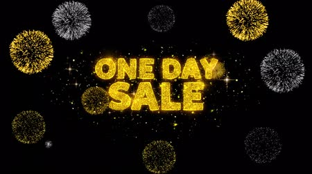 alku : One Day Sale Text Reveal on Glitter Golden Particles Firework. Sale, Discount Price, Off Deals, Offer promotion offer percent discount ads 4K Loop Animation. Stock mozgókép