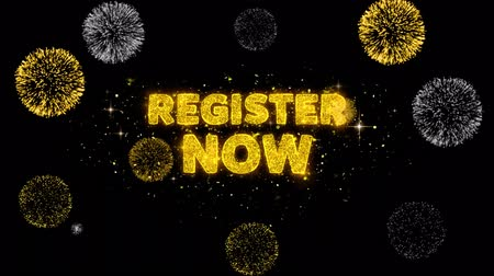 registration : Register Now Text Reveal on Glitter Golden Particles Firework. Sale, Discount Price, Off Deals, Offer promotion offer percent discount ads 4K Loop Animation.
