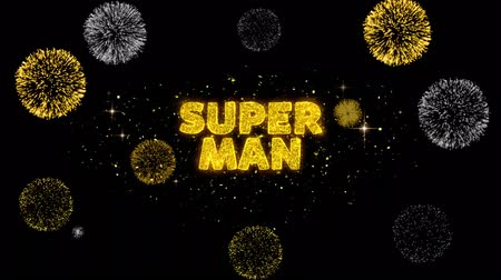 product promo : Super Man Text Reveal on Glitter Golden Particles Firework. Sale, Discount Price, Off Deals, Offer promotion offer percent discount ads 4K Loop Animation.