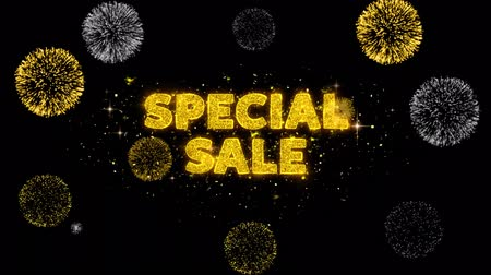 cupom : Special Sale Text Reveal on Glitter Golden Particles Firework. Sale, Discount Price, Off Deals, Offer promotion offer percent discount ads 4K Loop Animation.