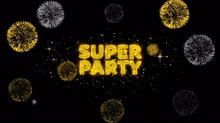 promocional : Super Party Text Reveal on Glitter Golden Particles Firework. Sale, Discount Price, Off Deals, Offer promotion offer percent discount ads 4K Loop Animation. Vídeos