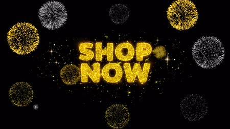 jelenleg : Shop Now Text Reveal on Glitter Golden Particles Firework. Sale, Discount Price, Off Deals, Offer promotion offer percent discount ads 4K Loop Animation.