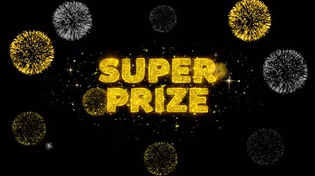 medaille : Super Prize Text Reveal on Glitter Golden Particles Firework. Sale, Discount Price, Off Deals, Offer promotion offer percent discount ads 4K Loop Animation.