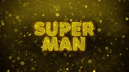 promo : Super Man Text Golden Glitter Glowing Lights Shine Particles. Sale, Discount Price, Off Deals, Offer promotion offer percent discount ads 4K Loop Animation. Stock Footage