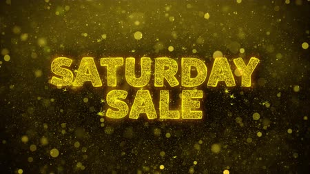 procent : Saturday Sale Text Golden Glitter Glowing Lights Shine Particles. Sale, Discount Price, Off Deals, Offer promotion offer percent discount ads 4K Loop Animation. Wideo