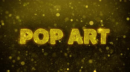 comics pop : Pop Art Text Golden Glitter Glowing Lights Shine Particles. Sale, Discount Price, Off Deals, Offer promotion offer percent discount ads 4K Loop Animation.