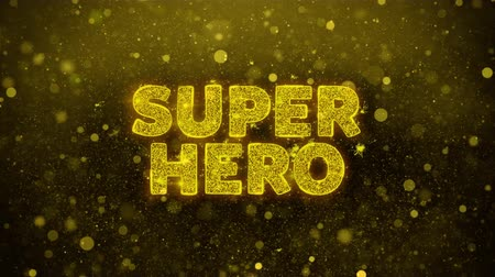 comics pop : Super Hero Text Golden Glitter Glowing Lights Shine Particles. Sale, Discount Price, Off Deals, Offer promotion offer percent discount ads 4K Loop Animation.