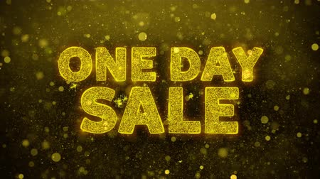 çıkartmalar : One Day Sale Text Golden Glitter Glowing Lights Shine Particles. Sale, Discount Price, Off Deals, Offer promotion offer percent discount ads 4K Loop Animation. Stok Video