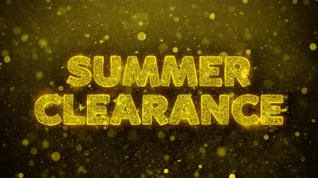végső : Summer Clearance Text Golden Glitter Glowing Lights Shine Particles. Sale, Discount Price, Off Deals, Offer promotion offer percent discount ads 4K Loop Animation. Stock mozgókép