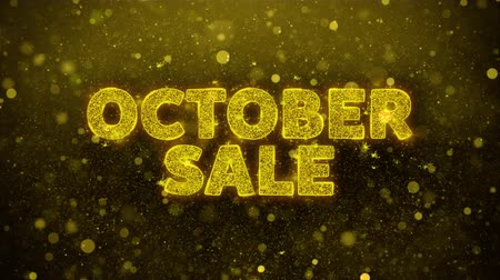 autumn discounts : October Sale Text Golden Glitter Glowing Lights Shine Particles. Sale, Discount Price, Off Deals, Offer promotion offer percent discount ads 4K Loop Animation. Stock Footage