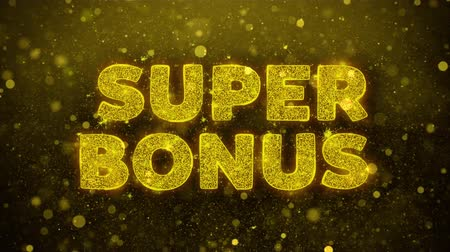 értékesítés : Super Bonus Text Golden Glitter Glowing Lights Shine Particles. Sale, Discount Price, Off Deals, Offer promotion offer percent discount ads 4K Loop Animation.