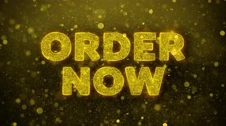 shops : Order Now Text Golden Glitter Glowing Lights Shine Particles. Sale, Discount Price, Off Deals, Offer promotion offer percent discount ads 4K Loop Animation.