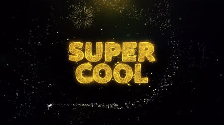 ilan : Super Cool Text on Gold Glitter Particles Spark Exploding Fireworks Display. Sale, Discount Price, Off Deals, Offer Promotion Offer Percent Discount ads 4K Loop Animation. Stok Video