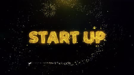 jelenleg : Start Up Text on Gold Glitter Particles Spark Exploding Fireworks Display. Sale, Discount Price, Off Deals, Offer Promotion Offer Percent Discount ads 4K Loop Animation.