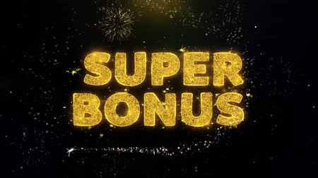odznaka : Super Bonus Text on Gold Glitter Particles Spark Exploding Fireworks Display. Sale, Discount Price, Off Deals, Offer Promotion Offer Percent Discount ads 4K Loop Animation.