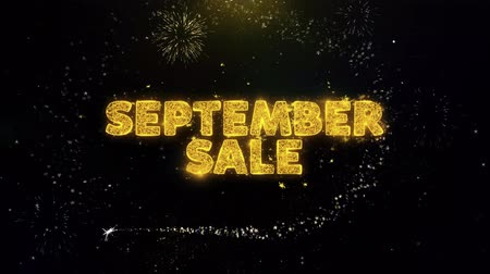 autumn discounts : September Sale Text on Gold Glitter Particles Spark Exploding Fireworks Display. Sale, Discount Price, Off Deals, Offer Promotion Offer Percent Discount ads 4K Loop Animation.