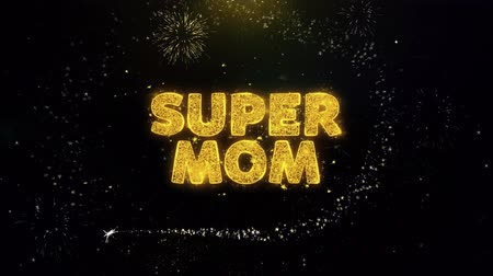 zaproszenie ślubne : Super Mom Text on Gold Glitter Particles Spark Exploding Fireworks Display. Sale, Discount Price, Off Deals, Offer Promotion Offer Percent Discount ads 4K Loop Animation.