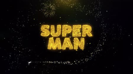 pricetag : Super Man Text on Gold Glitter Particles Spark Exploding Fireworks Display. Sale, Discount Price, Off Deals, Offer Promotion Offer Percent Discount ads 4K Loop Animation.