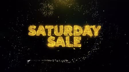promocional : Saturday Sale Text on Gold Glitter Particles Spark Exploding Fireworks Display. Sale, Discount Price, Off Deals, Offer Promotion Offer Percent Discount ads 4K Loop Animation. Vídeos