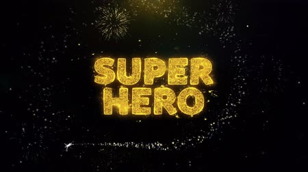 comics pop : Super Hero Text on Gold Glitter Particles Spark Exploding Fireworks Display. Sale, Discount Price, Off Deals, Offer Promotion Offer Percent Discount ads 4K Loop Animation. Stock Footage