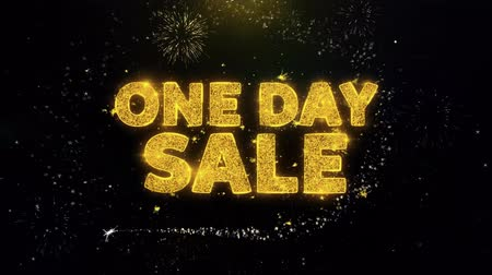 рекламный : One Day Sale Text on Gold Glitter Particles Spark Exploding Fireworks Display. Sale, Discount Price, Off Deals, Offer Promotion Offer Percent Discount ads 4K Loop Animation. Стоковые видеозаписи