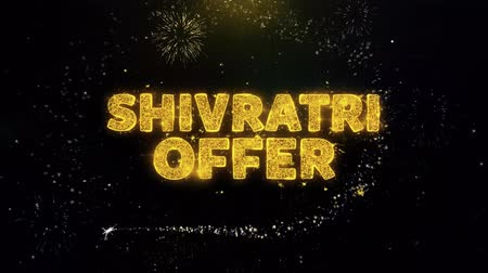 cabeçalho : Shivratri Sale Text on Gold Glitter Particles Spark Exploding Fireworks Display. Sale, Discount Price, Off Deals, Offer Promotion Offer Percent Discount ads 4K Loop Animation. Vídeos