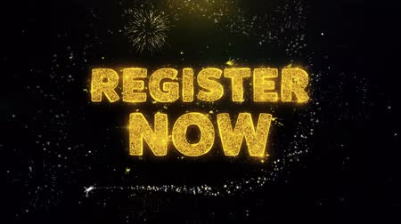 rezervasyon : Register Now Text on Gold Glitter Particles Spark Exploding Fireworks Display. Sale, Discount Price, Off Deals, Offer Promotion Offer Percent Discount ads 4K Loop Animation. Stok Video