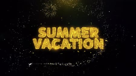 ракушки : Summer Vacation Text on Gold Glitter Particles Spark Exploding Fireworks Display. Sale, Discount Price, Off Deals, Offer Promotion Offer Percent Discount ads 4K Loop Animation.