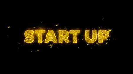 рекламный : Start Up Text Sparks Glitter Particles on Black Background. Sale, Discount Price, Off Deals, Offer promotion offer percent discount ads 4K Loop Animation.