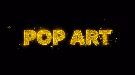 popart : Pop Art Text Sparks Glitter Particles on Black Background. Sale, Discount Price, Off Deals, Offer promotion offer percent discount ads 4K Loop Animation.