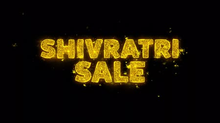 cabeçalho : Shivratri Sale Text Sparks Glitter Particles on Black Background. Sale, Discount Price, Off Deals, Offer promotion offer percent discount ads 4K Loop Animation.