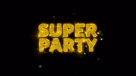festa : Super Party Text Sparks Glitter Particles on Black Background. Sale, Discount Price, Off Deals, Offer promotion offer percent discount ads 4K Loop Animation. Stock Footage