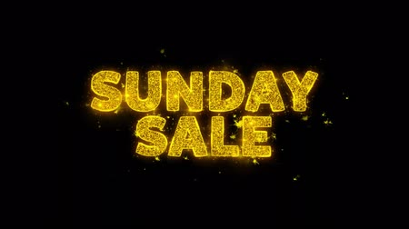 mais : Sunday Sale Text Sparks Glitter Particles on Black Background. Sale, Discount Price, Off Deals, Offer promotion offer percent discount ads 4K Loop Animation.