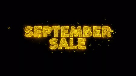 благодарение : September Sale Text Sparks Glitter Particles on Black Background. Sale, Discount Price, Off Deals, Offer promotion offer percent discount ads 4K Loop Animation.