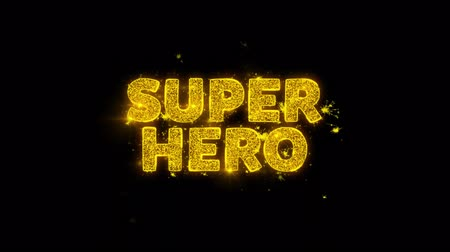livraria : Super Hero Text Sparks Glitter Particles on Black Background. Sale, Discount Price, Off Deals, Offer promotion offer percent discount ads 4K Loop Animation. Stock Footage