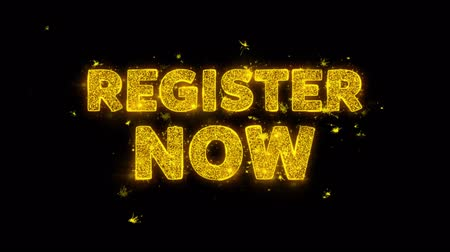 hoje : Register Now Text Sparks Glitter Particles on Black Background. Sale, Discount Price, Off Deals, Offer promotion offer percent discount ads 4K Loop Animation.