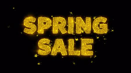 cupom : Spring sale Text Sparks Glitter Particles on Black Background. Sale, Discount Price, Off Deals, Offer promotion offer percent discount ads 4K Loop Animation.