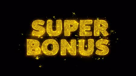 pricetag : Super Bonus Text Sparks Glitter Particles on Black Background. Sale, Discount Price, Off Deals, Offer promotion offer percent discount ads 4K Loop Animation.