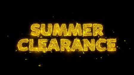 végső : Summer Clearance Text Sparks Glitter Particles on Black Background. Sale, Discount Price, Off Deals, Offer promotion offer percent discount ads 4K Loop Animation.