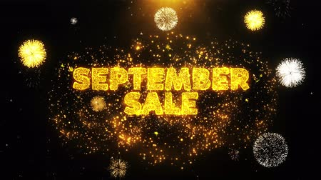 レタリング : September Sale Text on Firework Display Explosion Particles. Sale, Discount Price, Off Deals, Offer promotion offer percent discount ads 4K Loop Animation. 動画素材