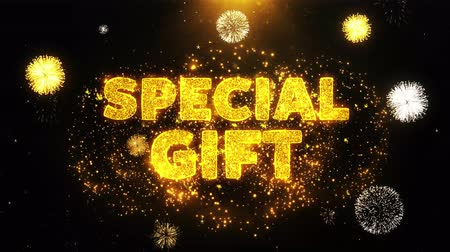 cupom : Special Gift Text on Firework Display Explosion Particles. Sale, Discount Price, Off Deals, Offer promotion offer percent discount ads 4K Loop Animation.