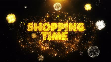 рекламный : SHOPPING TIME Text on Firework Display Explosion Particles. Sale, Discount Price, Off Deals, Offer promotion offer percent discount ads 4K Loop Animation.