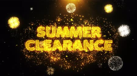cupom : Summer Clearance Text on Firework Display Explosion Particles. Sale, Discount Price, Off Deals, Offer promotion offer percent discount ads 4K Loop Animation.