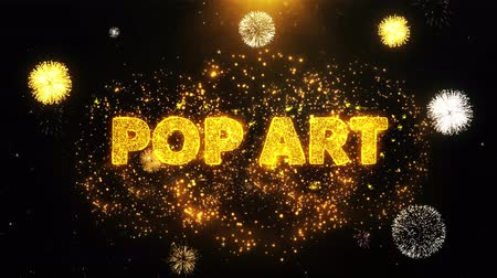 popart : Pop Art Text on Firework Display Explosion Particles. Sale, Discount Price, Off Deals, Offer promotion offer percent discount ads 4K Loop Animation.