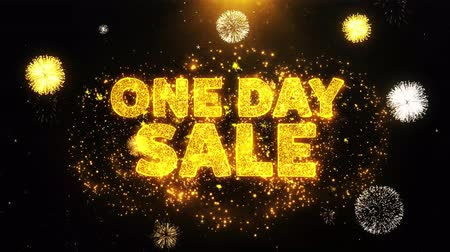 hoje : One Day Sale Text on Firework Display Explosion Particles. Sale, Discount Price, Off Deals, Offer promotion offer percent discount ads 4K Loop Animation.