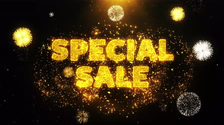 cupom : Special Sale Text on Firework Display Explosion Particles. Sale, Discount Price, Off Deals, Offer promotion offer percent discount ads 4K Loop Animation.