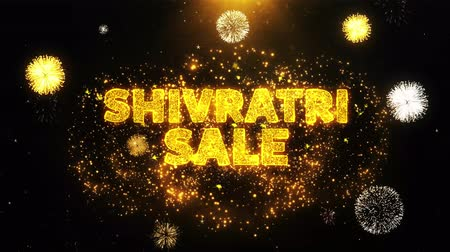 shiva : Shivratri Sale Text on Firework Display Explosion Particles. Sale, Discount Price, Off Deals, Offer promotion offer percent discount ads 4K Loop Animation.