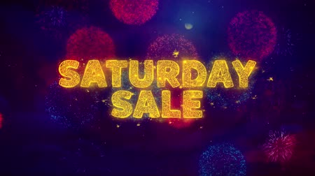 sobota : Saturday Sale Text on Colorful Firework Explosion Particles. Sale, Discount Price, Off Deals, Offer promotion offer percent discount ads 4K Loop Animation.